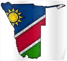 Namibia Map With Namibian Flag Poster