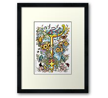 """The Illustrated Alphabet Capital  T  """"Getting personal"""" Framed Print"""