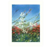 Wildflowers - blue horizon_Pastel painting Art Print