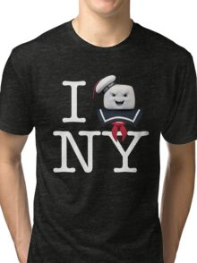 Ghostbusters - I Stay Puft NY - White on Dark Tri-blend T-Shirt