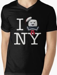 Ghostbusters - I Stay Puft NY - White on Dark Mens V-Neck T-Shirt