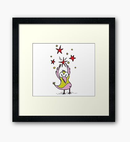 Bird holding a star Framed Print