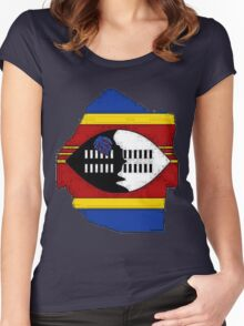 Swaziland Map With Flag Women's Fitted Scoop T-Shirt