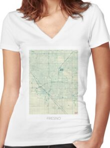 Fresno Map Blue Vintage Women's Fitted V-Neck T-Shirt