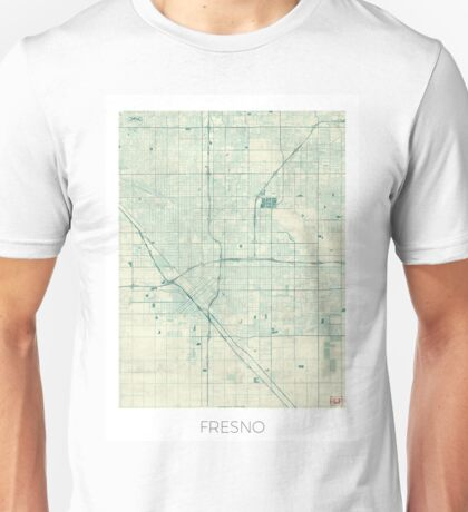 Fresno Map Blue Vintage Unisex T-Shirt