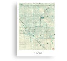 Fresno Map Blue Vintage Canvas Print
