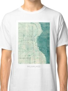 Milwaukee Map Blue Vintage Classic T-Shirt