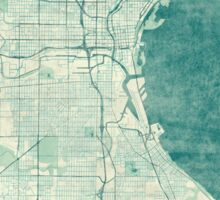 Milwaukee Map Blue Vintage Sticker