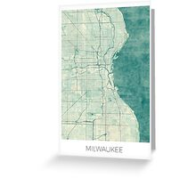 Milwaukee Map Blue Vintage Greeting Card