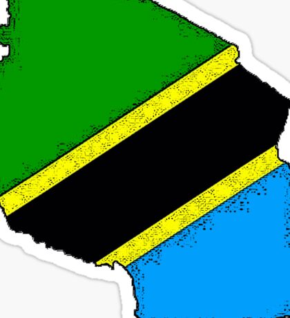 Tanzania Map With Tanzanian Flag Sticker