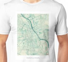 Warsaw Map Blue Vintage Unisex T-Shirt