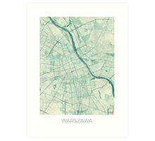 Warsaw Map Blue Vintage Art Print