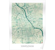 Warsaw Map Blue Vintage Poster