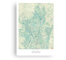 Kyoto Map Blue Vintage Canvas Print