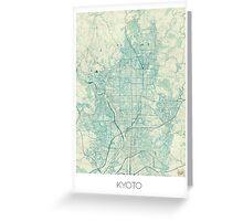 Kyoto Map Blue Vintage Greeting Card