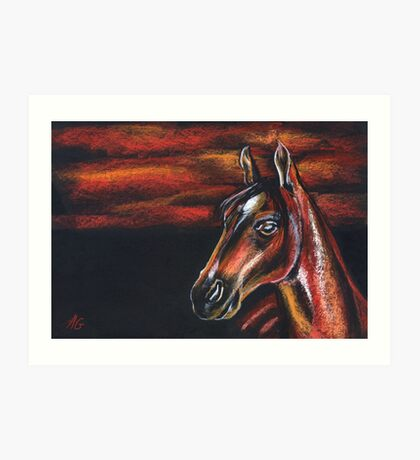 Red horse_Pastel painting_My favorite animals Art Print
