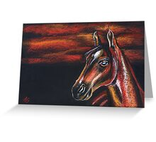 Red horse_Pastel painting_My favorite animals Greeting Card