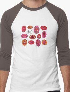 Bright Celebration Pebble Shapes Hand Drawn Artwork Men's Baseball ¾ T-Shirt