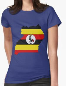 Uganda Map With Ugandan Flag Womens Fitted T-Shirt