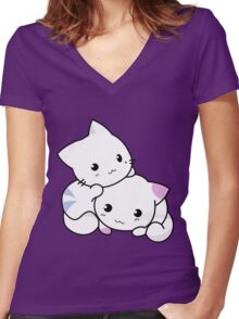 Cute Kittens Playing Women's Fitted V-Neck T-Shirt