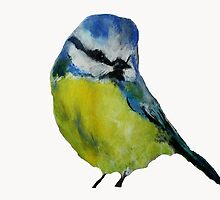 Wild English Garden Bird Blue Tit Contemporary Acrylic Painting White Edit by JamesPeart