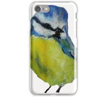 Wild English Garden Bird Blue Tit Contemporary Acrylic Painting White Edit iPhone Case/Skin