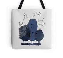 Blue beans speaking Tote Bag