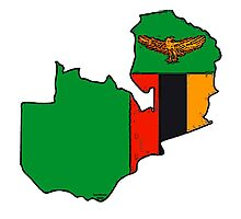 Zambia Map With Zambian Flag Photographic Print