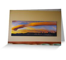 Sunrise On Lenticular Clouds (A 108 x 36 canvas print museum wrapped) Greeting Card