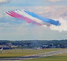 Red Arrows 10 Ship Open The Farnborough Airshow 2014 ! by Colin J Williams Photography