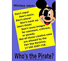 Mickey Mouse lies about copyright Photographic Print