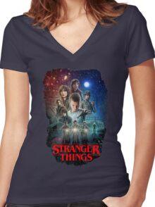 Stranger Things Black Women's Fitted V-Neck T-Shirt