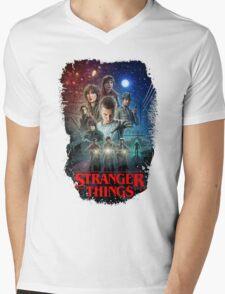 Stranger Things Black Mens V-Neck T-Shirt