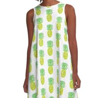 Pineapple Watercolor Tropical Painted Fruit Fruity A-Line Dress