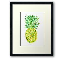 Pineapple Watercolor Tropical Painted Fruit Fruity Framed Print