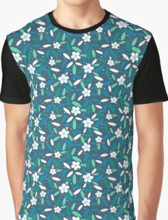 White flowers turquoise leaves Graphic T-Shirt