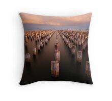 Princes Pier long exposure Throw Pillow