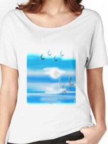 One Moon Light sea Women's Relaxed Fit T-Shirt