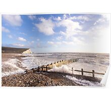 Powerful waves at Cuckmere Haven, East Sussex, UK Poster