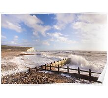 Crashing waves at Cuckmere Haven, East Sussex, UK Poster