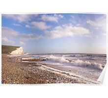 Watching the waves at Cuckmere Haven, East Sussex, UK Poster