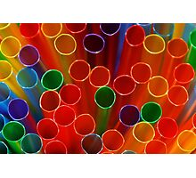Colourful Vibrant Straws Photographic Print