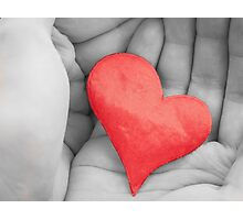 Red heart in hands. Photographic Print