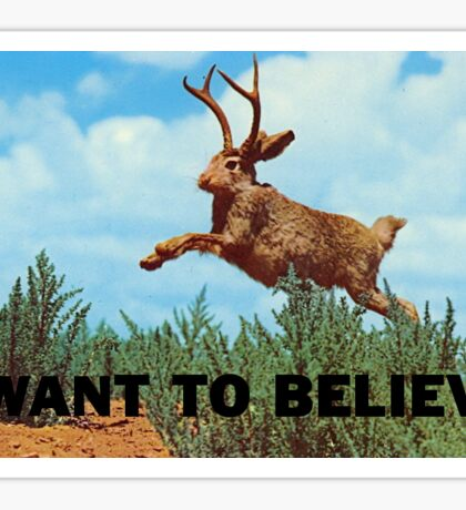 I WANT TO BELIEVE IN JACKALOPES Sticker