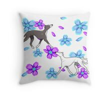 Galgoflowerwalk Throw Pillow