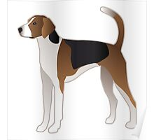 American Foxhound Basic Breed Silhouette Poster