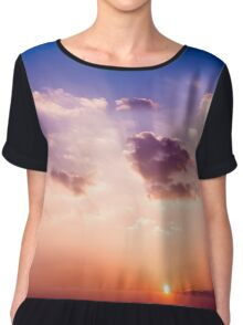 Sunset sky with sun. Chiffon Top