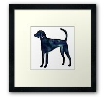 American Foxhound Black Watercolor Silhouette Framed Print