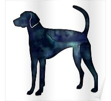 American Foxhound Black Watercolor Silhouette Poster