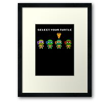 Select Your Turtle (Michelangelo) - TMNT Pixel Art Framed Print